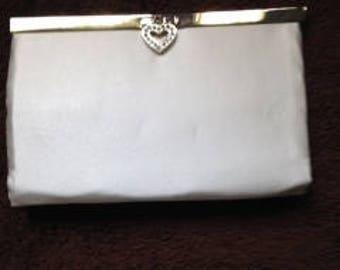 White Satin purse