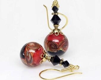 Red Black Venetian Murano Lampwork Glass Earrings, Murano Glass Earrings, Gold, Italian Artisan, Dangle, Earrings, Elandra Designs