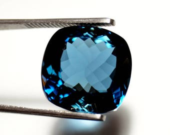 Genuine London Blue Topaz 16x16x9.5 mm Cushion Cut Stone - Blue Topaz Cushion Shape Faceted Gemstones