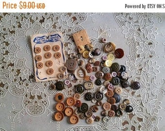 WILL SHIP AUG 23 Vintage Brown and Tan Button Assortment Wood Leather