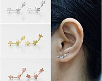 925 Sterling Silver Earrings, Star Earrings, Gold Plated Earrings, Rose Gold Plated Earrings, Stud Earrings (Code : EC73)