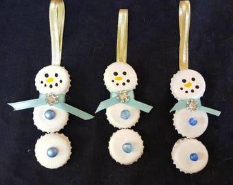 Bottlecap snowmen ornaments