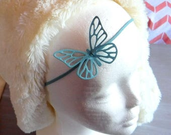 Head band in leather - Butterfly - turquoise