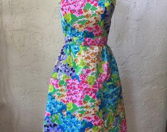 Vintage 1960s Floral Halter Dress Sz4 by Tori Richards Sz 2-6