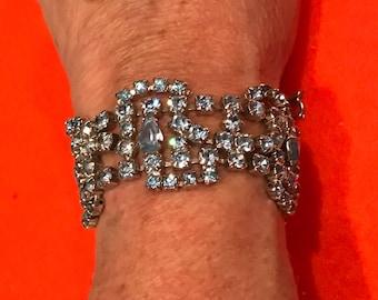 Pretty Vintage Ice Blue Rhinestone Bracelet