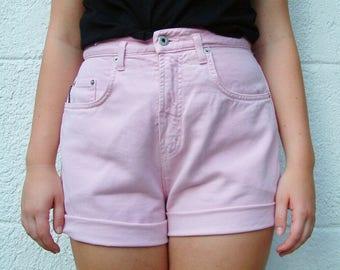 Vintage Pink Denim High Waisted Shorts - Karen Kane - M