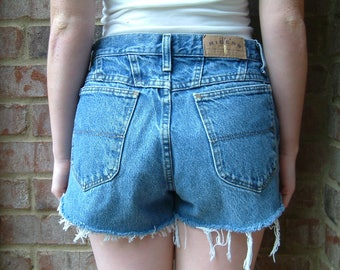 Vintage Distressed Denim High Waisted Shorts - Riders - S