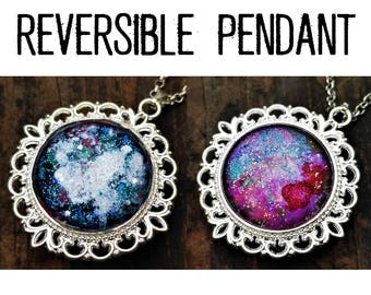 Why Not Both Reversible Pendant: Snow Stars on Blue and Green & Red Spot On Rainbow Stars Hand-Painted Glass. (Necklace or Keychain)