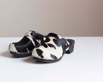 Appaloosa Printed Pony Hair Swedish Clogs 1990s Vintage // Size 7 1/2