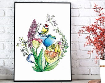 Poster A3 (30x40cm) - Goldfinch illustration - decoration
