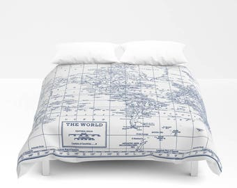 Navy Blue and White World Map Duvet Cover or Comforter bed - bedroom, travel decor, cozy soft,  winter, warm, wanderlust bedroom decor