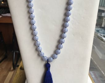 Genuine Blue Lace Agate Hand Knotted Necklace