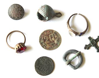 8 old pieces, archaeological finds, ancient fragments, Set of archaeological finds, archeology, finds with a metal detector.