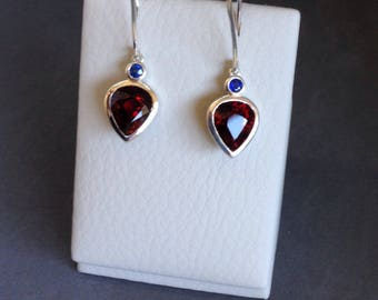 Garnet and blue sapphire dangle earrings