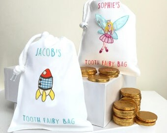 Tooth Fairy Bags With Any Name including Chocolate Coins Gift Bags Personalised Party Bags for Boys and Girls Colourful Fairy and Rocket