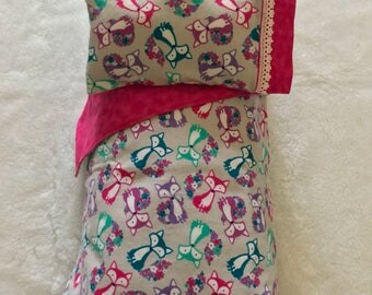 "18"" Doll bedding, 18"" doll, doll comforter and pillow, fox doll bedding, ready to ship"