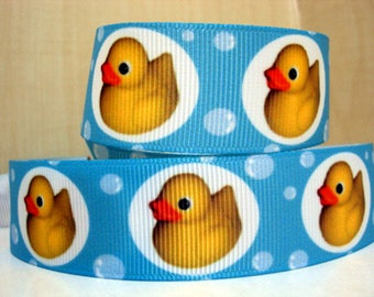 22mm Yellow Duck Ribbon by the yard grosgrain animal pet background blue
