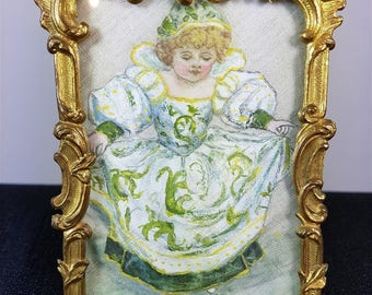Antique Original Miniature Oil Painting on Silk Little Girl Portrait in Gold Metal Frame