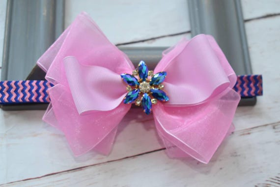 Special occasion pink and royal blue bow headband - Baby / Toddler / Girls / Kids Headband / Hairband / Hair bow / Barrette / Hairclip