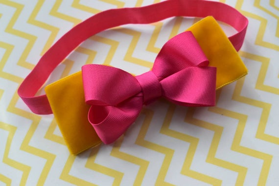 Fall mustard yellow and fuchsia pink - Baby / Toddler / Girls / Kids Elastic Hairclip / Hair Barrette / Hairband / Headband / holiday gift