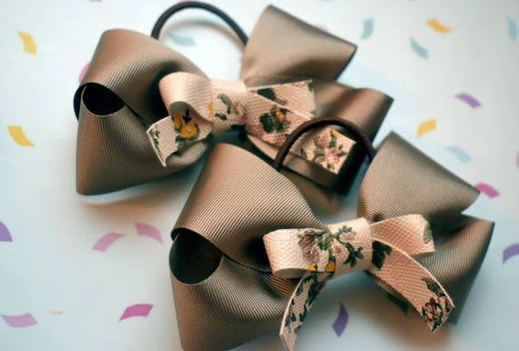 Pair of bone brown floral hair ties - Kids / Toddlers / Girl pony tail holders / scrunchies