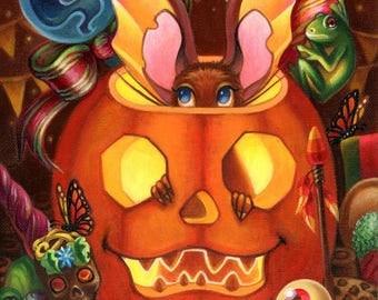 I'll Just Be Right Here print by Angel Hawari, Halloween Art, Jack O Lantern, Pumpkins, Costumes, Haunted Candy