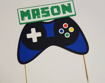 Gaming Cake Topper personalized with the name or age! Game control cake topper! Gamer Bithday Party!