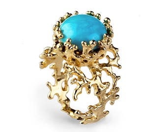CORAL Turquoise Ring, Gold Turquoise Ring, Women's Turquoise Ring, Gold Statement Ring, Turquoise Gemstone Ring