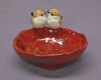 Trinket Bowl Rustic Style with Two Birds, Love Birds - Handmade Ceramic Bowl, Decorative Bowl, Wedding Gift, Romantic