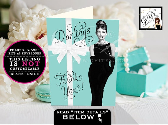 "Thank You Cards BRIDAL shower OR Birthday, thank you notes template, Audrey Hepburn thank you note cards, 3.5x5""/2 Per Sheet {Blank INSIDE}"
