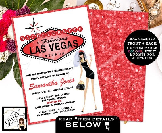 Vegas bachelorette party invitation, vegas bachelorette party invitations, invites, las vegas wedding shower, glitz glam casino theme, 5x7.