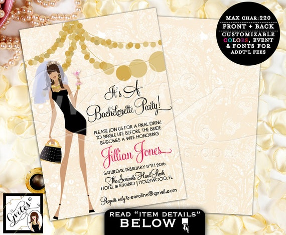 Bachelorette Party Invites, African American bachelorette invitation, bridal shower printable template, glitz glam, pink and gold, 5x7
