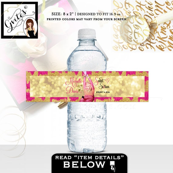 "Water bottle labels Marilyn Monroe stickers, decorations, pink and gold sweet 16, quince sixteen party favors, hollywood 8x2""/5 Per Sheet."