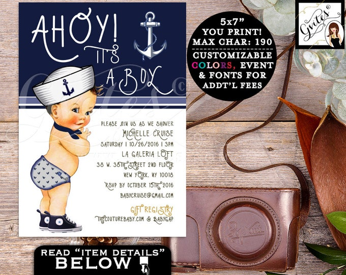 Little sailor boy invitations, BABY SHOWER invitations, ahoy it's a boy, navy blue invites, baby shower invitation, nautical PRINTABLE