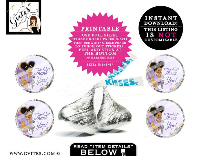 "Hershey kisses stickers, thank you candy labels, hershey kiss labels, baby shower, gold silver and purple PRINTABLE 0.75x0.75""/48 Per Sheet."