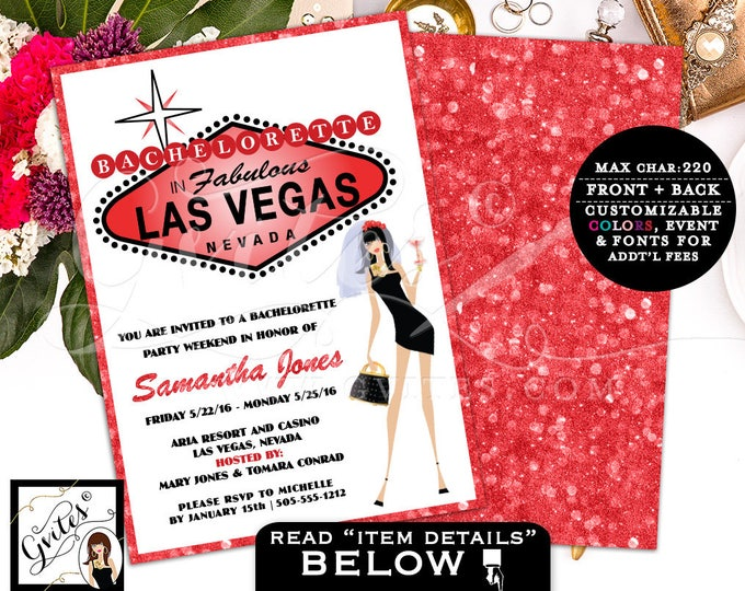 Vegas bachelorette party invitation, vegas bachelorette party invitations, invites, las vegas wedding shower, glitz glam casino theme, 5x7.