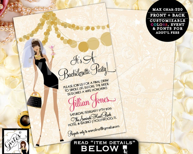 Gold Bachelorette Party Invites, African American bachelorette invitation, bridal shower printable template, glitz glam, pink and gold, 5x7