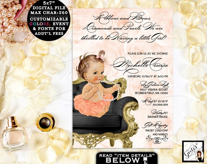 Peach Baby Shower Invitation, Diamonds and pearls invitation, baby girl printable, vintage, ribbons bows, diamonds pearls. {Digital File}