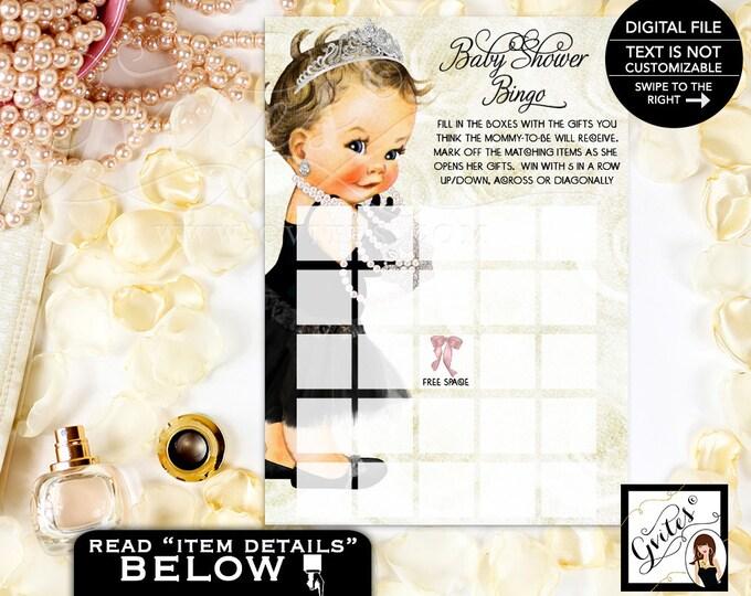 "Baby Bingo Baby Shower, printable game, vintage, template, baby bingo princess baby girl, bingo card game 5x7"" 2 Per/Sheet"