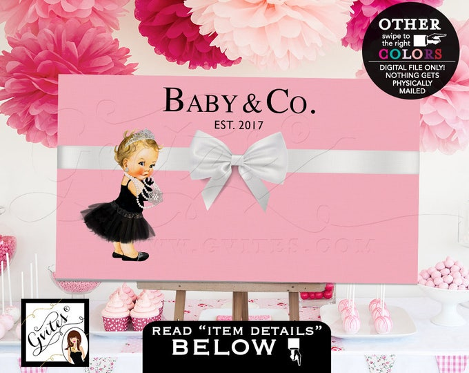 """Baby and Co Backdrop For Dessert Table, Decorations, baby and co baby shower, poster signs for Avail Size(s): 36x20"""", 48x30"""" & 72x48"""""""