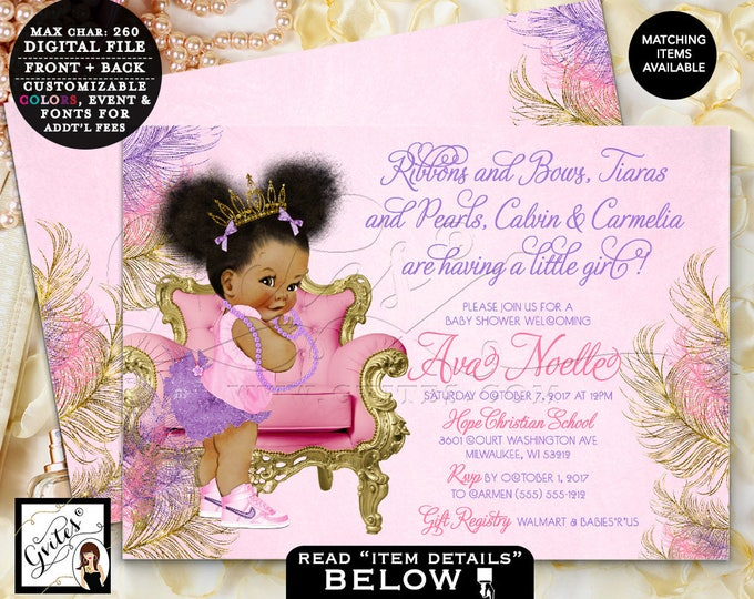 Pink Purple & Gold Baby Shower Invitation, Ribbons Bows Tiaras Pearls, Princess Baby Girl Vintage, Printable, Double Sided 7x5, #TIAAPC9PG