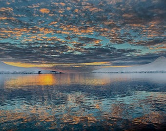 Fine Art Print, Sunset, Dorian Bay, Antarctica, Nature Photograph