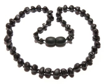 Genuine Raw Baltic Amber Beads Baby Teething Necklace Black Color Unpolished