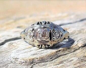 art deco engagement ring 25ct old mine cut diamond engagement ring vintage engagement ring antique - Art Deco Wedding Ring