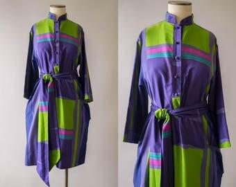 vintage 1970s dress / Catherine Ogust tunic dress / small - medium / Soda Pop Dress