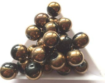 "beautiful ""art deco"" black-chocolate/gold bead"