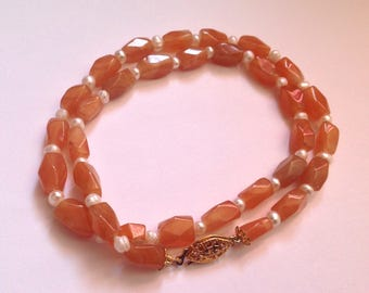 Vintage Orange Carnelian and Genuine Pearl Necklace With Old Clasp