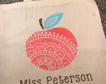 Apple mandala teacher tote bag back to school