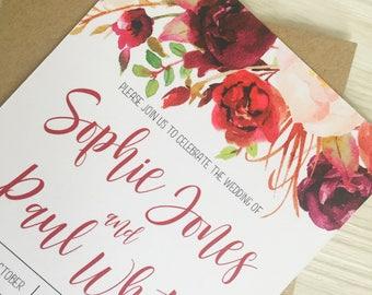 Burgundy and blush wedding invitation - Rustic wedding invitation - Calligraphy wedding invitation