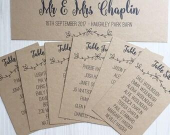 Kraft wedding table plan cards - wedding seating chart cards - individual table plan cards